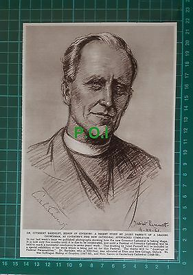 C2550) Dr Cuthbert Bardsley Bishop of Coventry    - 1961 Cutting