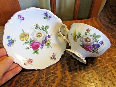 """Mitterteich Bavaria Germany, """"meissen Floral"""" Footed Tea Cup And Saucer"""