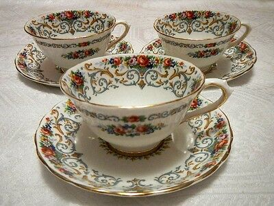 Vintage Three Tuscan Orleans Pattern England Tea Cups and Saucers c. 1947