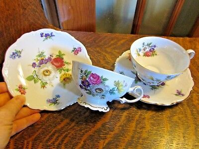 """(2) Mitterteich Bavaria Germany, """"meissen Floral"""" Footed Tea Cup And Saucer"""