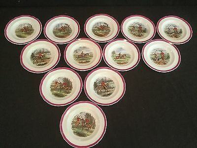 Rare Red Rim Copeland Spode Herring Hunt 12 Bread And Butter Plates