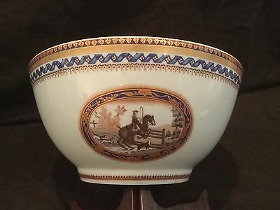 MOTTAHEDEH BY VISTA ALEGRE Chinese Export Horse Riding Bowl Gold Limited Edition