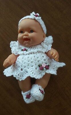 "HAND CROCHETED DOLL CLOTHES/fits 8"" Berenguer Babies"
