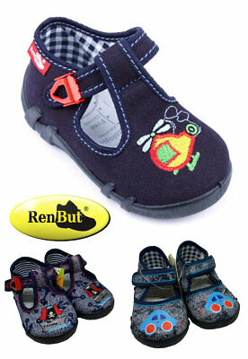 Slippers Sandals Canvas Shoes for Toddlers Boys, Size UK 3-6 Made in EU NEW