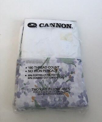 Vintage CANNON Pair of Pillowcases Purple Flower Cottage Country Chic KING SIZE