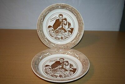 "2 Norman Rockwell 10"" Pie Plates Warmest of Holiday Traditions Freedom from Want"