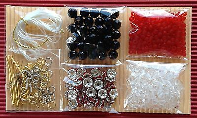 Jewellery Making Kit 6 Bags Craft Bead Findings Jewelry Red - Aussie Seller!!!