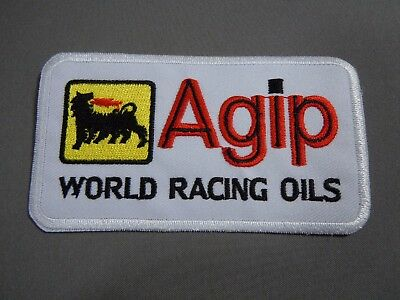 "AGIP Petroleum White Embroidered Iron-On Uniform-Jacket Patch 4"" x 2"""