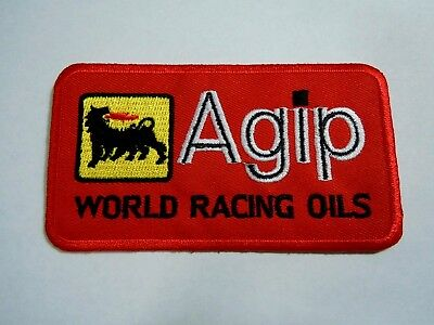 "AGIP Petroleum Red Embroidered Iron-On Uniform-Jacket Patch 4"" x 2"""