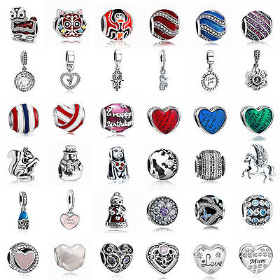 925 European Sterling Pedant Silver Charms Beads for Lot Bracelet Necklace CA29