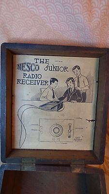 Vintage 1924 NESCO Crystal Radio Receiver Wood Box Only- Washington,D.C.