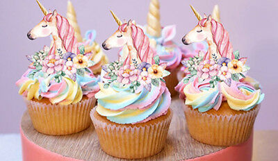 12 Stand Up Unicorn Gold Horn Flowers Edible Wafer Card Cupcake Images Toppers 3