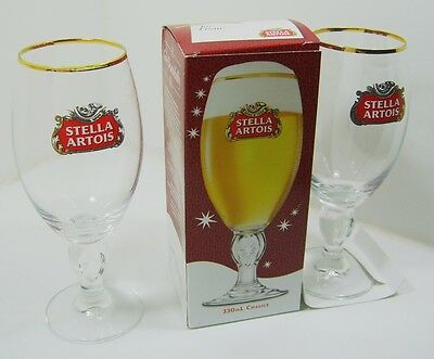 Stella Artois Pilsner Beer Glasses Lot of 2 One is New In Box