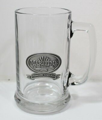 Maritime Beer Company Stein/Mug Glass With Pewter Crest