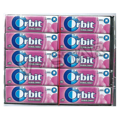 30 x NEW WRIGLEY'S ORBIT BUBBLE MINT CHEWING GUM FULL 30 PACK FULL BOX (300 pcs)