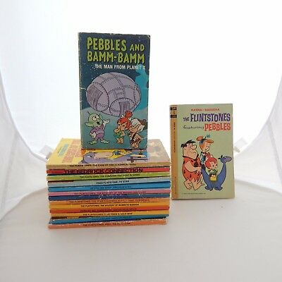 Flintstones Lot Of 15 Paperback Books Vintage Fred Wilma Bam Bam Pebbles Dino