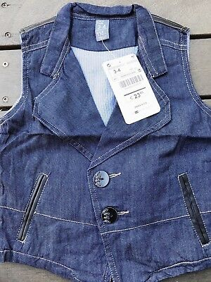 NEW Boy Children Kids Zara Denim Blue Casual Handsome Vest Waistcoat 3-10 Years
