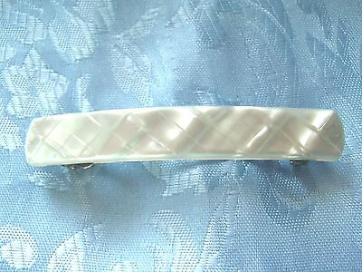 """Vintage Signed Made In France Lucite Simulated Mother Of Pearl 3 1/2"""" Hair Barre"""