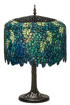 "WISTERIA TIFFANY STYLE Stained Glass Table Lamp 28""H TEAL FLOWING FLOWERS"