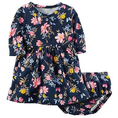 Carters Baby Girl Long Sleeve Floral Navy Blue Dress w Diaper Cover 6 9 12 Month