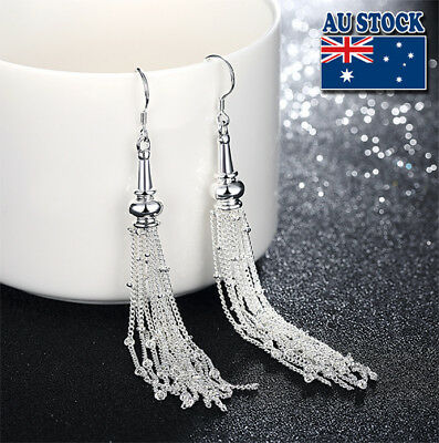 Classic Stunning 925 Sterling Silver Filled Long Tassel Dangle Earrings Party