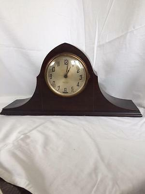 Antique New Haven Elm City Electric Tambour Mantel Clock