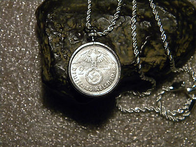 "*1938 WW2 German 2 Mark Silver Third Reich Coin With Large Swastika  24"" Pendant"