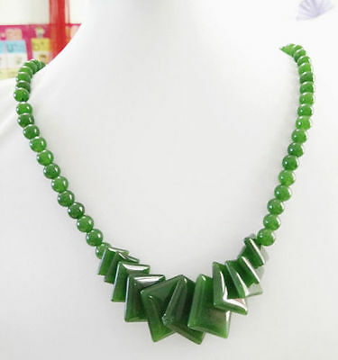 """Fashion Natural Green Jade Beads Jewelry Necklace 17"""" AAA grade"""