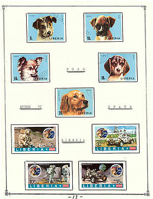 """LIBERIA Amazing Collection V.F. Used Stamps Hinged on list """" Dog & Cosmos """""""