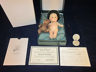R John Wright Kewpie & Teddy ~ Collector Club 1999/2000 SIGNED TAG ~ NEW in BOX