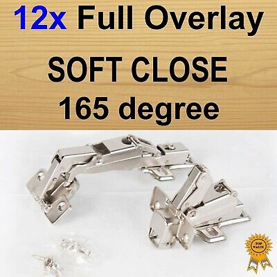 12x Door Kitchen Cabinet Cupboard Soft Close Full Overlay Hinges -165 degree