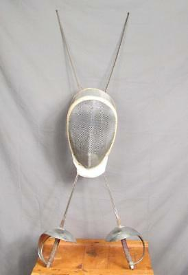 Vintage Fencing Group Competition Helmet & Epee/Foils Pair Swords Great Display!