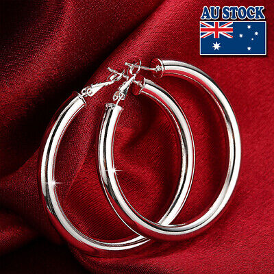 Wholesale Elegant 925 Sterling Silver Filled Women's Big Round Hoop Earrings
