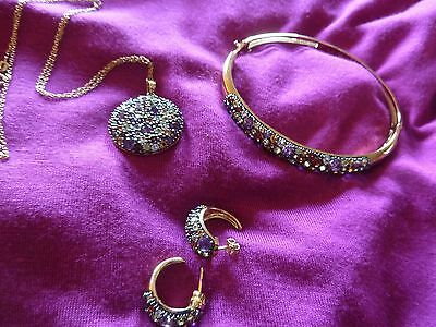 Vintage Multi Gemstone Jewelry Ensemble Set 18K Gold Plated Signed