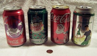 2016 Coca-Cola +Ginger Ale Collector Lot of (2+2) Empty Pop Cans With Pull Tags
