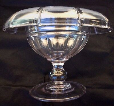 Amazing Art Deco Sleek Line Crystal Centerpiece Large Pedestal Bowl Compote 20's