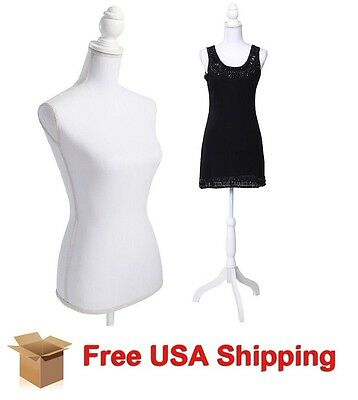 Female Adjustable Mannequin Dress Form Sewing Torso Display Tripod White New Sew