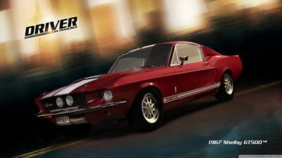 """043 Mustang - Ford Shelby GT500  Classic Racing Car concept 24""""x14"""" Poster"""