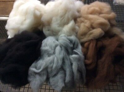 Carded Alpaca - 300g bag in 6 Natural Colours For Spinning