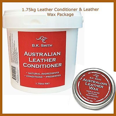 AUSTRALIAN MADE Leather Conditioner 1.75kg & Leather Wax Package- BK Smith