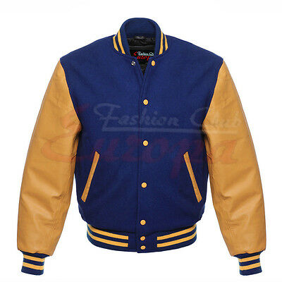 New Varsity Letterman Royel blue Wool Jacket with yellow gold Leather Sleeves