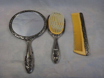 Vintage Reproduction Victorian Silver Plate Hand Mirror, Brush & Comb Vanity Set