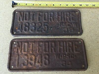 Wisconsin PSC License Plates 1934, 1938 - rusty - NOT FOR HIRE