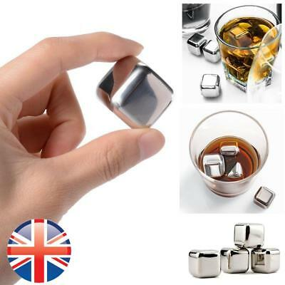 *UK Seller* Stainless Steel Soapstone Glacier Ice Cubes Drink Chillers