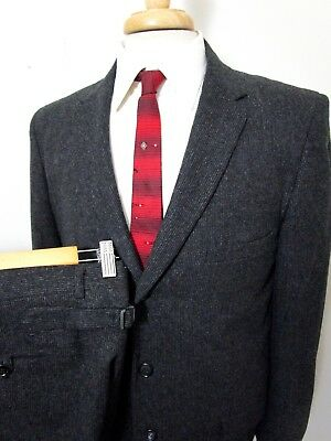 Vtg 1950s Black Wool suit 40 R BUCKLE BACK PANTS rockabilly pinstripe UNION MADE