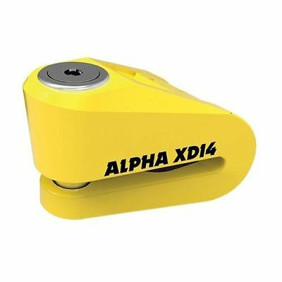 Oxford Alpha XD14 Motorcycle Scooter Disc Lock 14mm Pin Yellow Sold Secure New