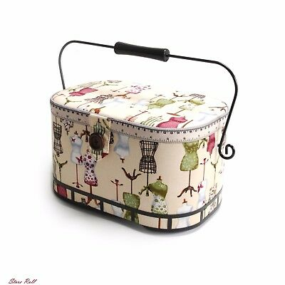 Sewing Storage Basket Organizer Tray Large Oval Metal Handle Magnetic Fabric New
