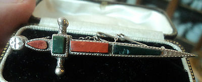 Vintage Scottish Silver & Jasper / Bloodstone Agate Sword Brooch c.1910/20