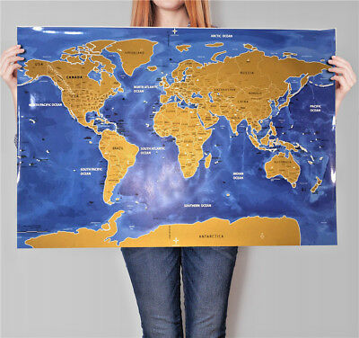 HOT Deluxe Travel Scratch off World Map Vintage gold Poster + US States&Flag