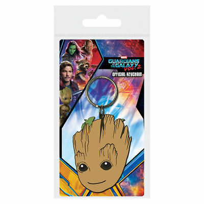 Guardians Of The Galaxy Baby Groot Face Rubber Keyring Keychain Official Film
